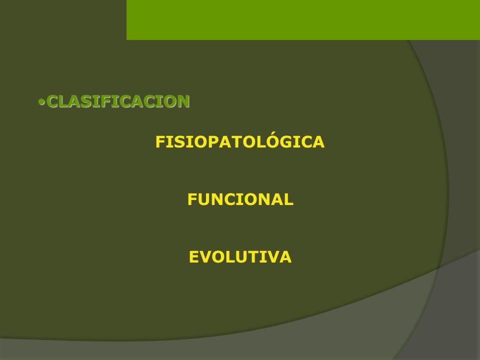 CLASIFICACION FISIOPATOLÓGICA FUNCIONAL EVOLUTIVA