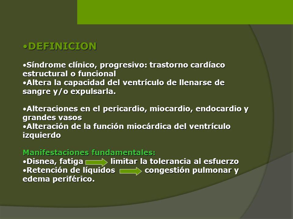 DEFINICION Síndrome clínico, progresivo: trastorno cardíaco estructural o funcional.