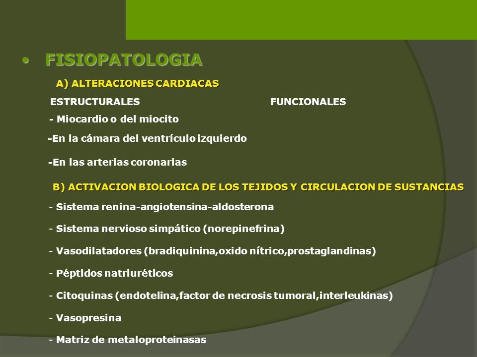 A) ALTERACIONES CARDIACAS - Miocardio o del miocito