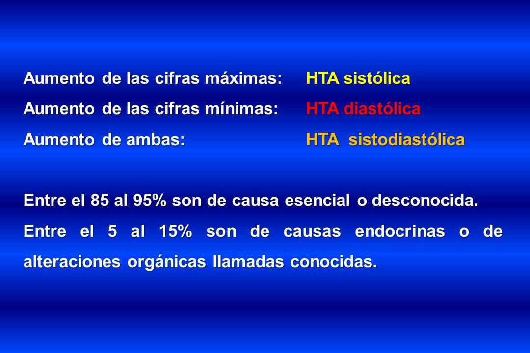Aumento de las cifras máximas: HTA sistólica