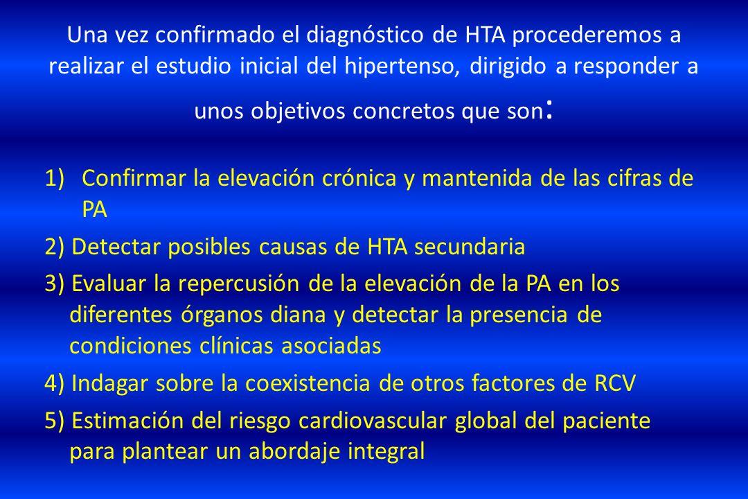 Una vez confirmado el diagnóstico de HTA procederemos a realizar el estudio inicial del hipertenso, dirigido a responder a unos objetivos concretos que son: