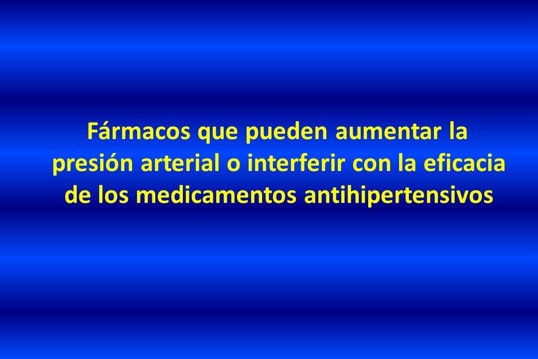 Fármacos que pueden aumentar la presión arterial o interferir con la eficacia de los medicamentos antihipertensivos