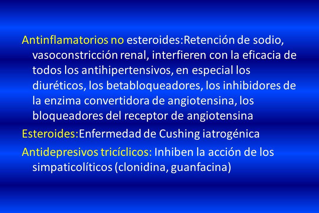 Antinflamatorios no esteroides:Retención de sodio, vasoconstricción renal, interfieren con la eficacia de todos los antihipertensivos, en especial los diuréticos, los betabloqueadores, los inhibidores de la enzima convertidora de angiotensina, los bloqueadores del receptor de angiotensina