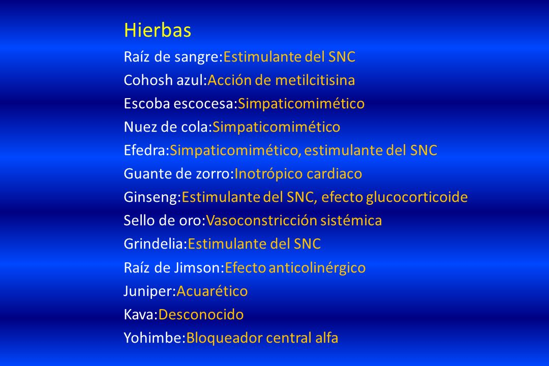 Hierbas Raíz de sangre:Estimulante del SNC