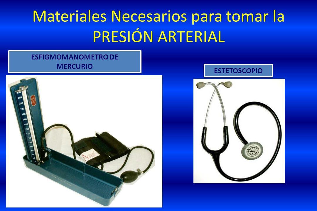 Materiales Necesarios para tomar la PRESIÓN ARTERIAL