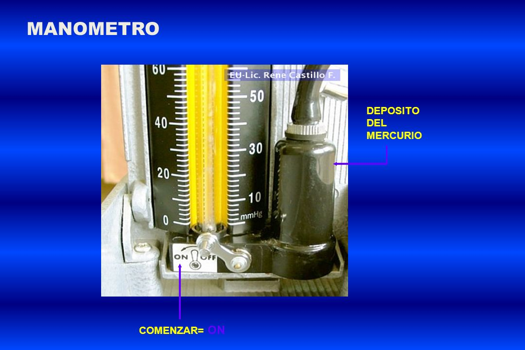 MANOMETRO DEPOSITO DEL MERCURIO COMENZAR= ON