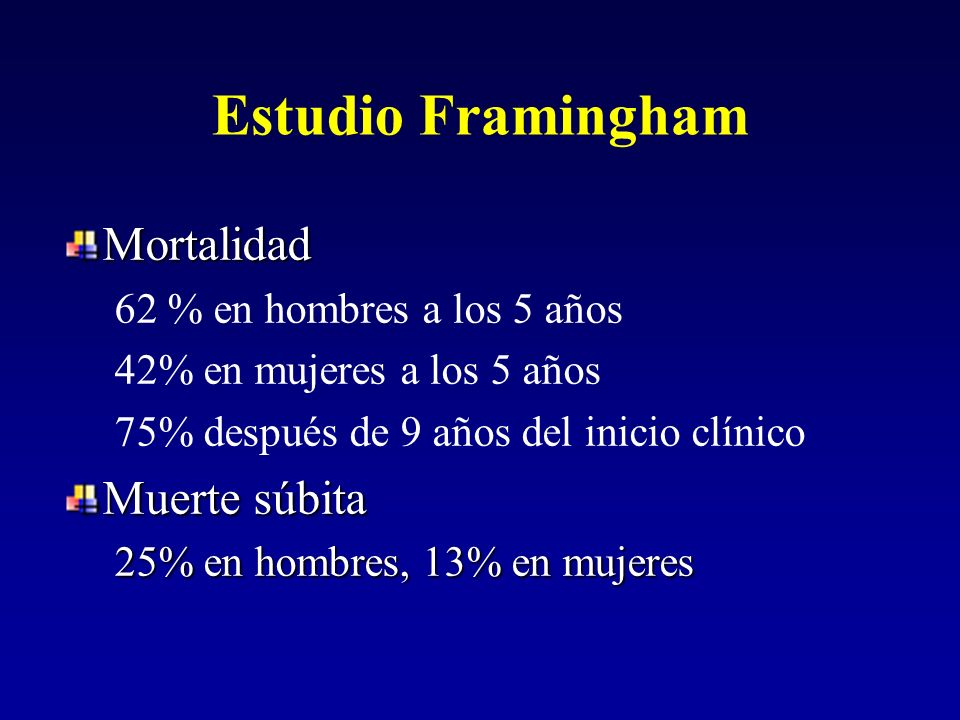 Estudio Framingham Mortalidad Muerte súbita