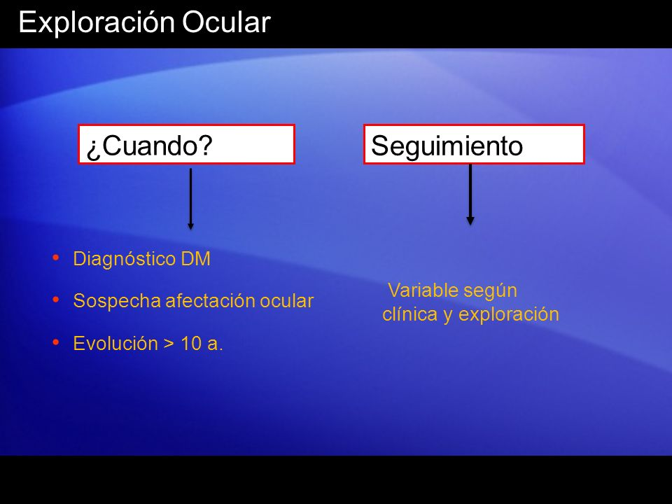 Exploración Ocular ¿Cuando Seguimiento Diagnóstico DM