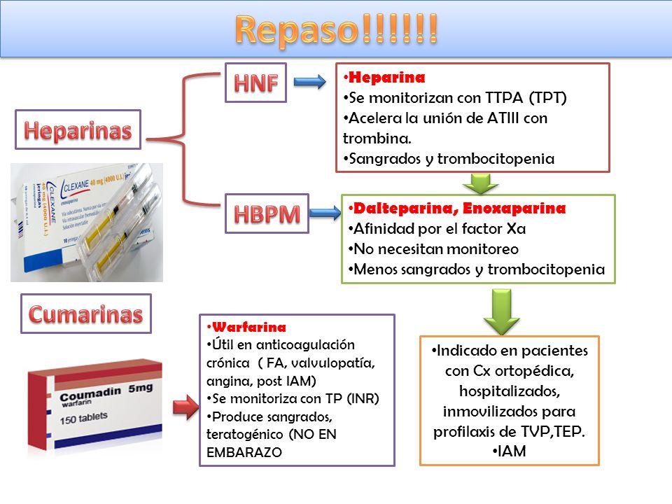 Repaso!!!!!! HNF Heparinas HBPM Cumarinas Heparina