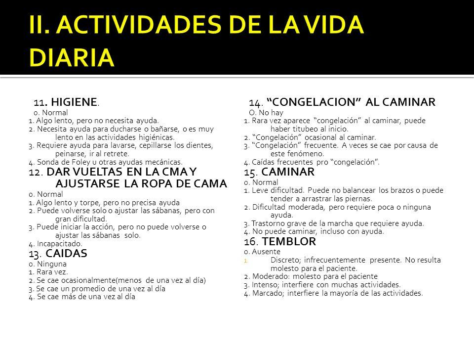 II. ACTIVIDADES DE LA VIDA DIARIA