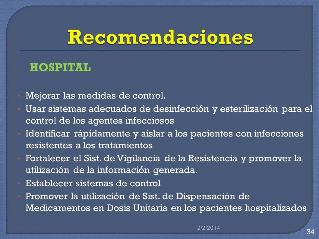 Recomendaciones HOSPITAL Mejorar las medidas de control.