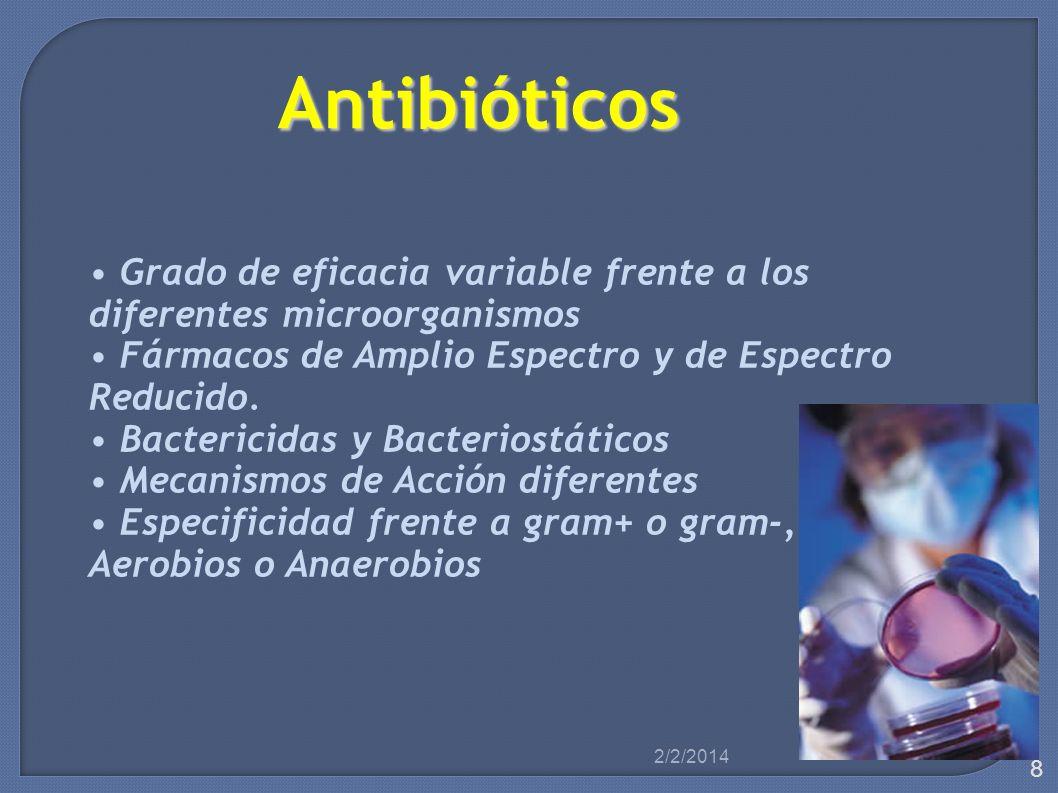 Antibióticos • Grado de eficacia variable frente a los
