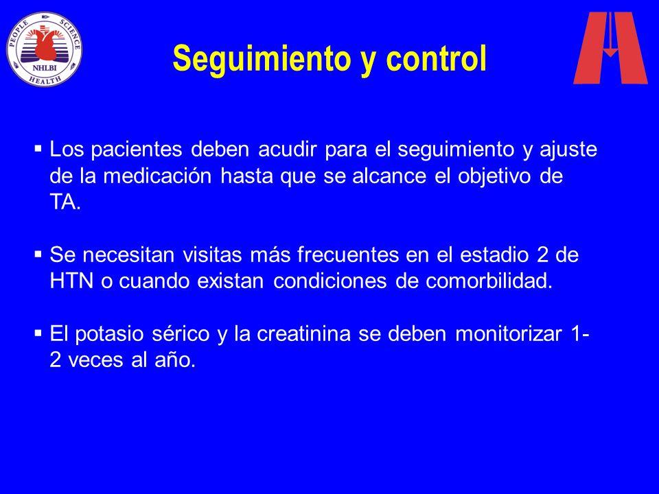 Seguimiento y control Los pacientes deben acudir para el seguimiento y ajuste de la medicación hasta que se alcance el objetivo de TA.