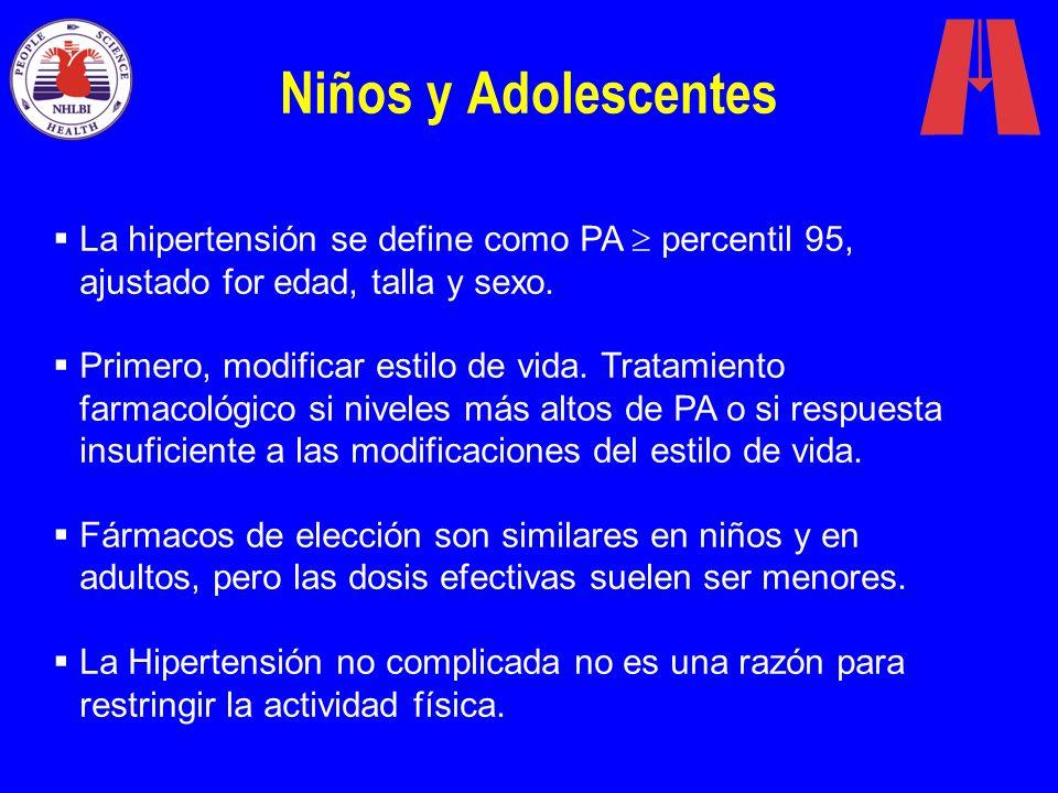 Niños y Adolescentes La hipertensión se define como PA  percentil 95, ajustado for edad, talla y sexo.