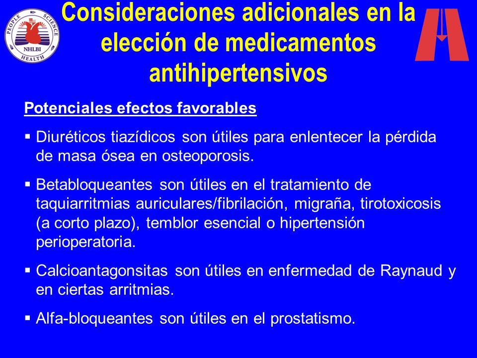 Consideraciones adicionales en la elección de medicamentos antihipertensivos