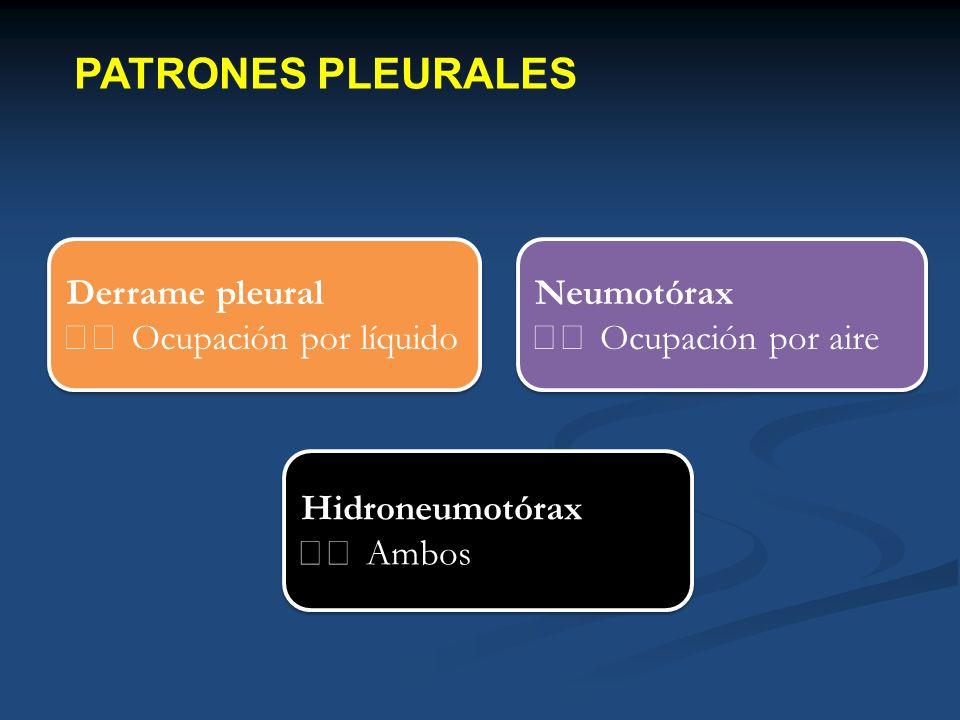 PATRONES PLEURALES Derrame pleural  Ocupación por líquido Neumotórax