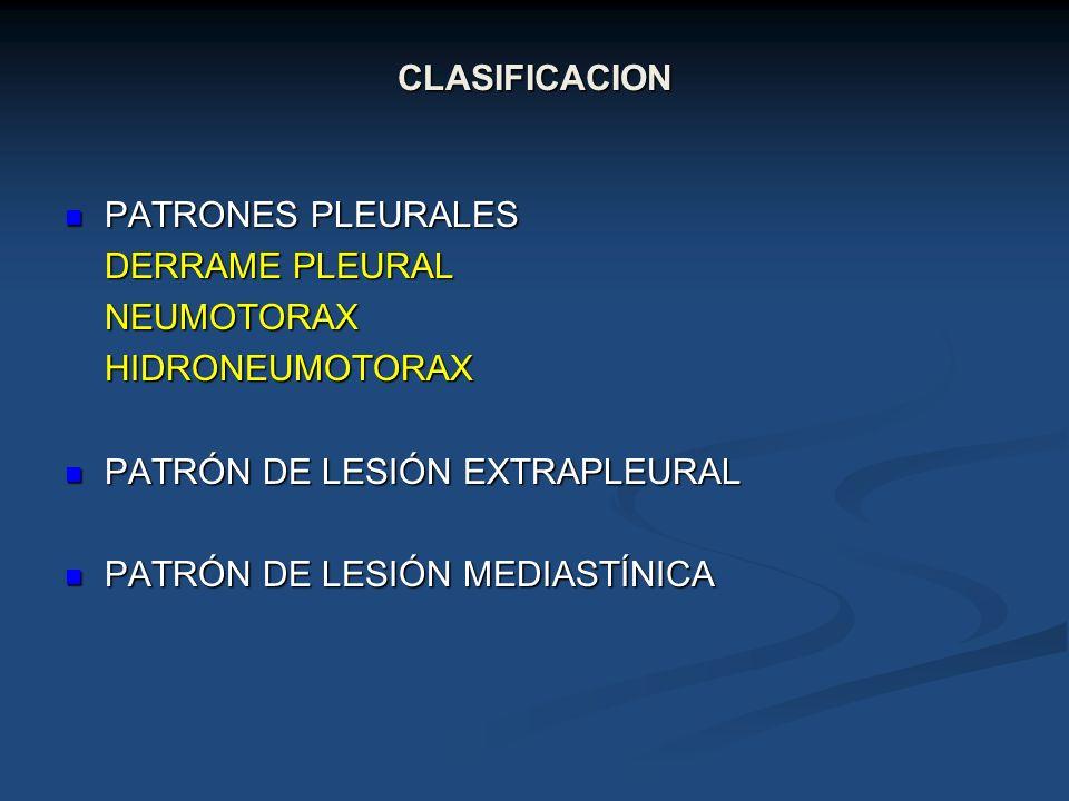 CLASIFICACIONPATRONES PLEURALES. DERRAME PLEURAL. NEUMOTORAX. HIDRONEUMOTORAX. PATRÓN DE LESIÓN EXTRAPLEURAL.