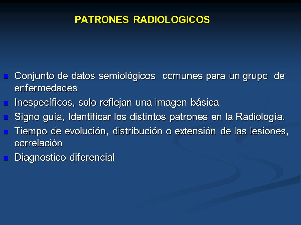 PATRONES RADIOLOGICOS
