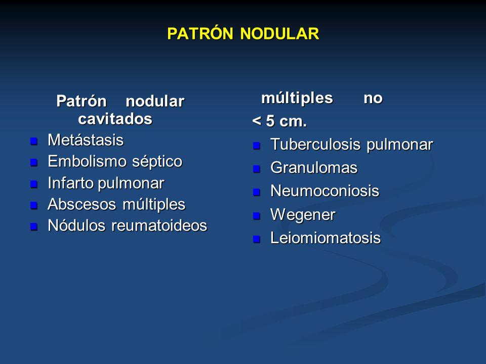 PATRÓN NODULARmúltiples no. < 5 cm. Tuberculosis pulmonar. Granulomas. Neumoconiosis. Wegener.