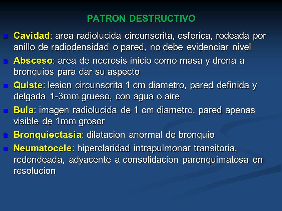 PATRON DESTRUCTIVOCavidad: area radiolucida circunscrita, esferica, rodeada por anillo de radiodensidad o pared, no debe evidenciar nivel.