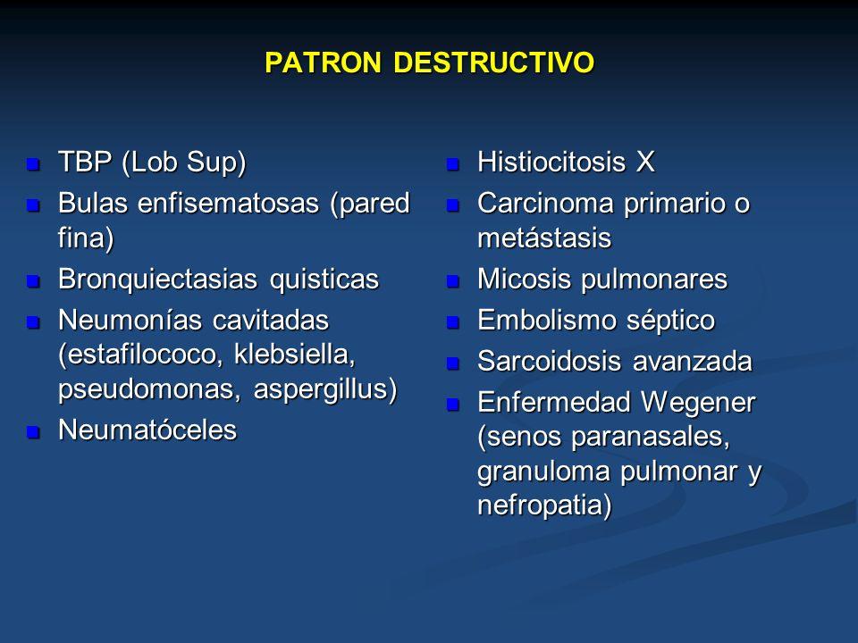 PATRON DESTRUCTIVO TBP (Lob Sup) Bulas enfisematosas (pared fina) Bronquiectasias quisticas.