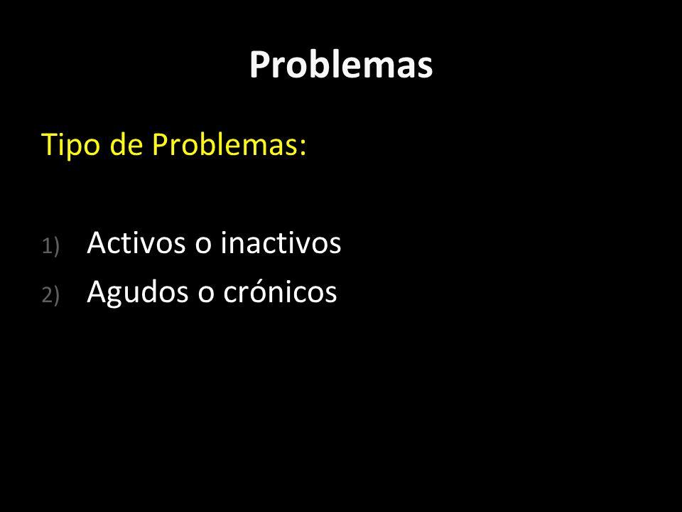 Problemas Tipo de Problemas: Activos o inactivos Agudos o crónicos
