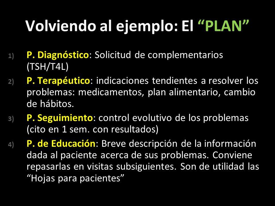 Volviendo al ejemplo: El PLAN