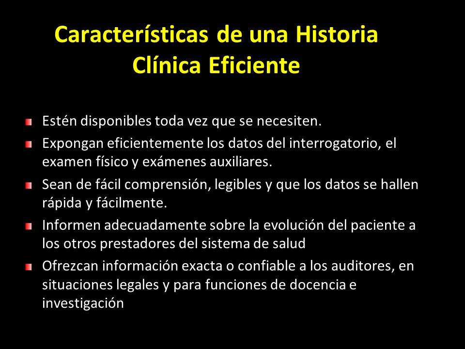 Características de una Historia Clínica Eficiente
