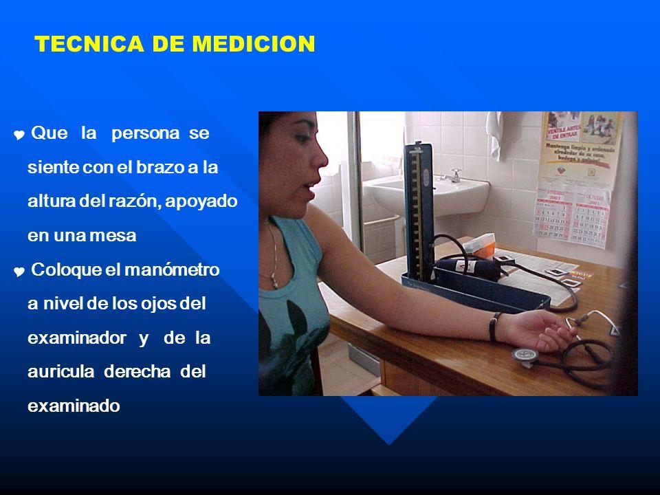 TECNICA DE MEDICION Que la persona se siente con el brazo a la