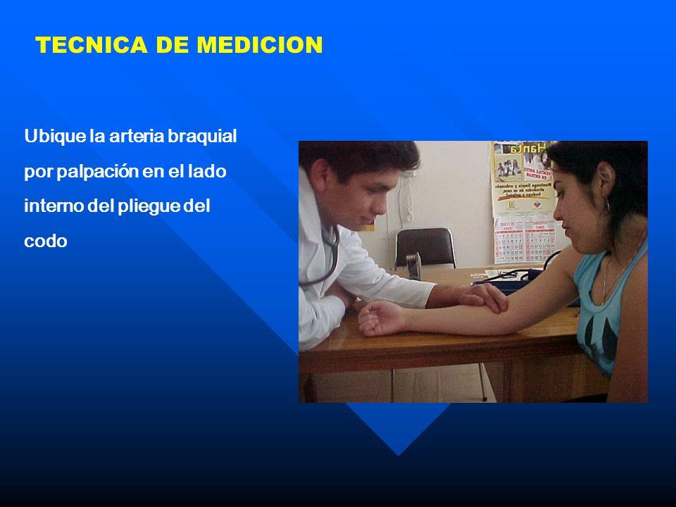 TECNICA DE MEDICION Ubique la arteria braquial