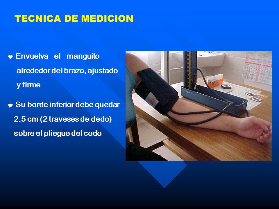 TECNICA DE MEDICION Envuelva el manguito alrededor del brazo, ajustado