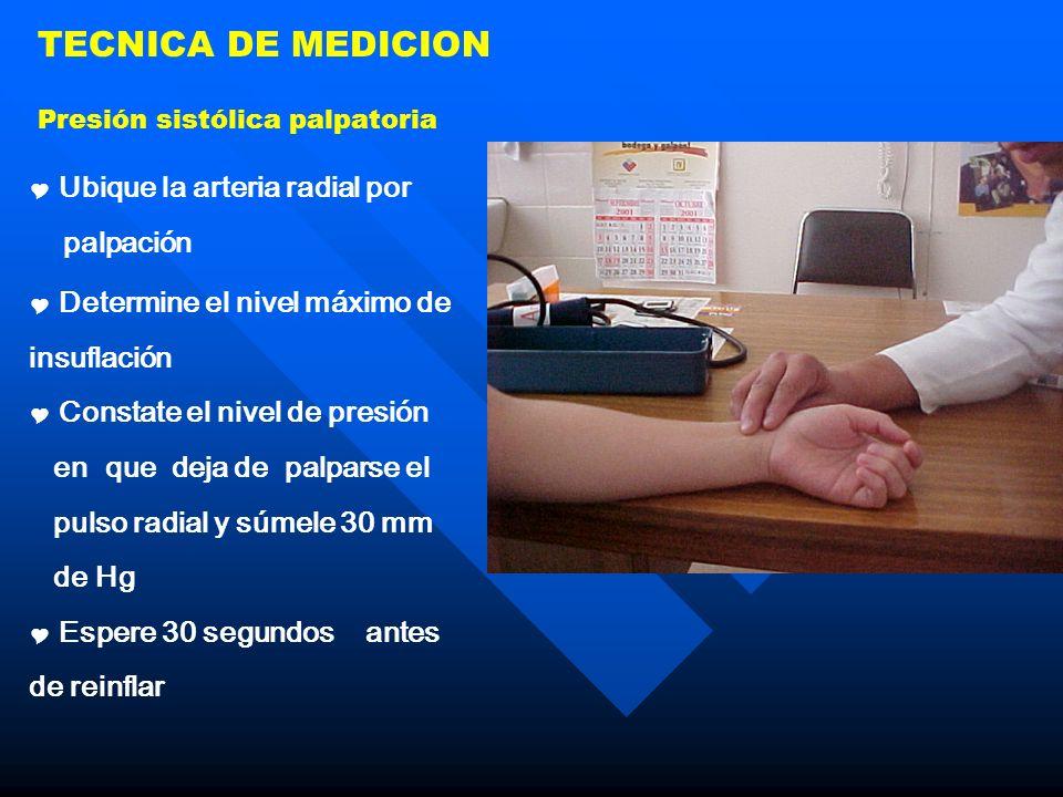 TECNICA DE MEDICION Ubique la arteria radial por palpación