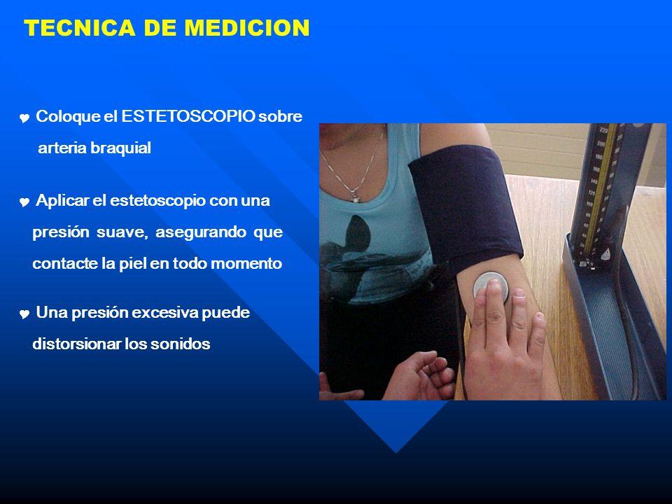 TECNICA DE MEDICION Coloque el ESTETOSCOPIO sobre arteria braquial