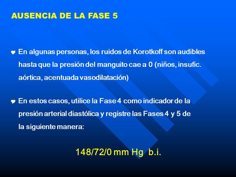 148/72/0 mm Hg b.i. AUSENCIA DE LA FASE 5