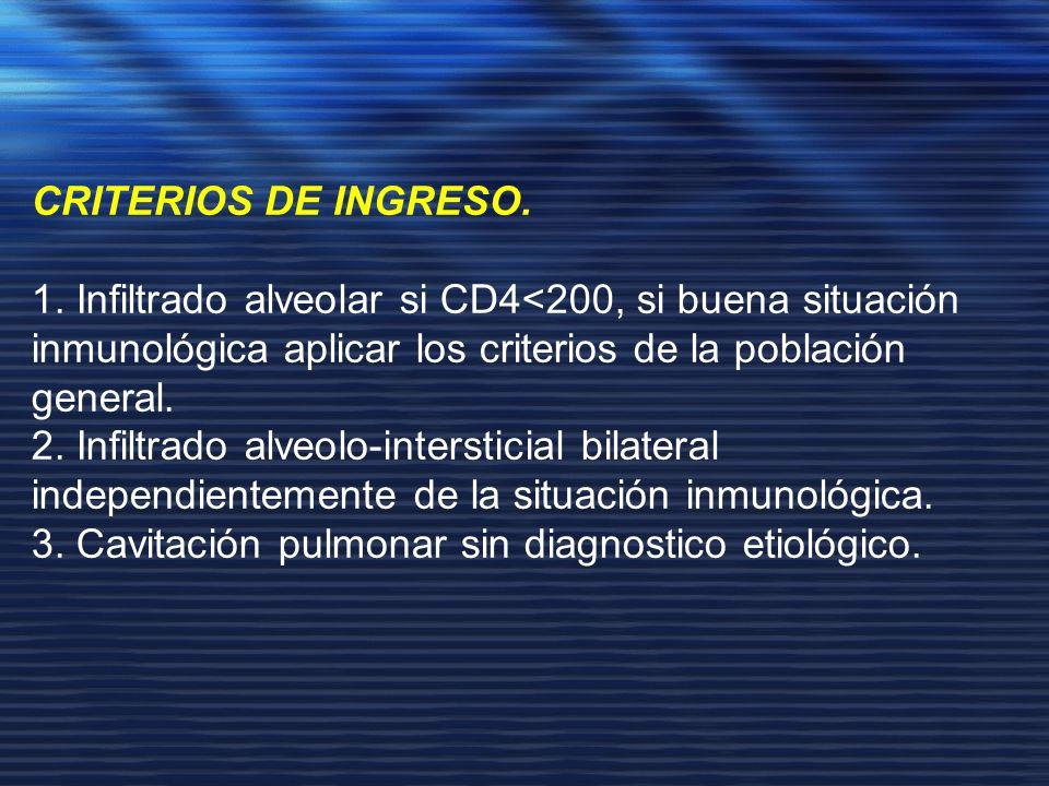 CRITERIOS DE INGRESO. 1. Infiltrado alveolar si CD4<200, si buena situación inmunológica aplicar los criterios de la población general.