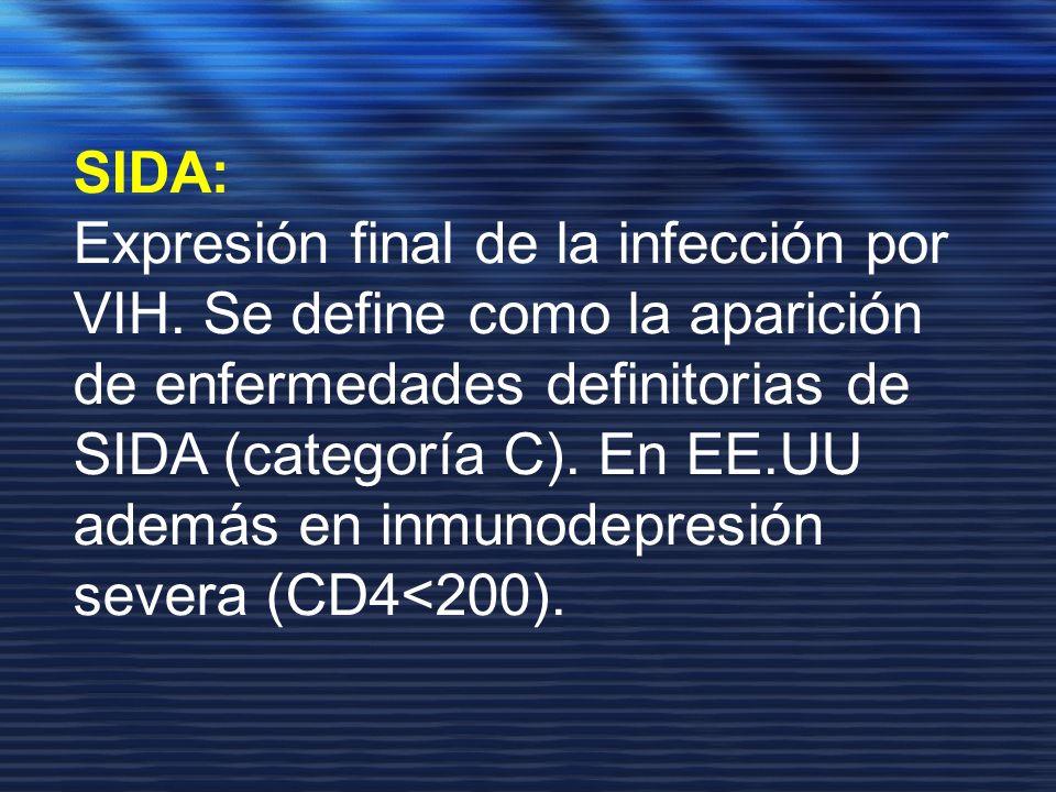 SIDA: Expresión final de la infección por VIH. Se define como la aparición. de enfermedades definitorias de SIDA (categoría C). En EE.UU.
