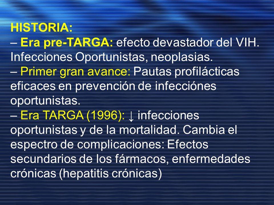 HISTORIA: – Era pre-TARGA: efecto devastador del VIH. Infecciones Oportunistas, neoplasias.