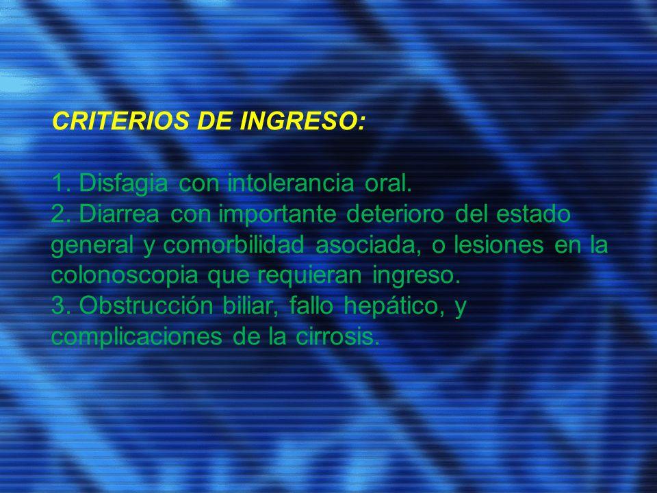 CRITERIOS DE INGRESO: 1. Disfagia con intolerancia oral.