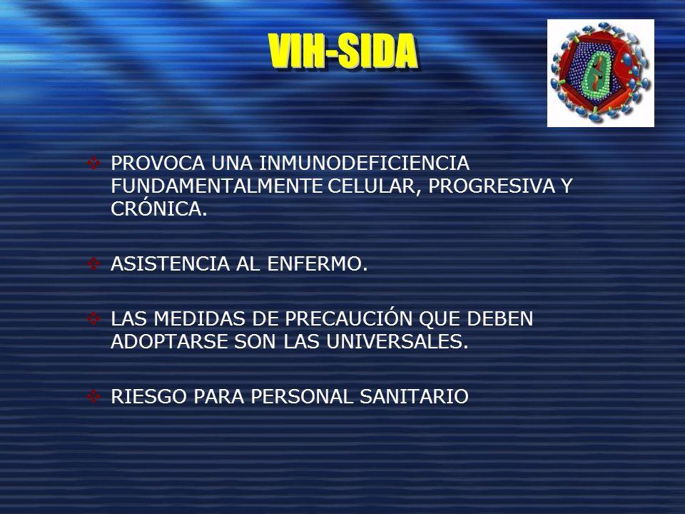 VIH-SIDA PROVOCA UNA INMUNODEFICIENCIA FUNDAMENTALMENTE CELULAR, PROGRESIVA Y CRÓNICA. ASISTENCIA AL ENFERMO.
