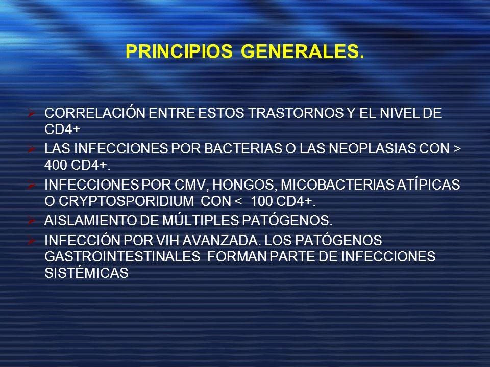 PRINCIPIOS GENERALES. CORRELACIÓN ENTRE ESTOS TRASTORNOS Y EL NIVEL DE CD4+ LAS INFECCIONES POR BACTERIAS O LAS NEOPLASIAS CON > 400 CD4+.