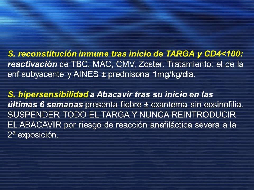 S. reconstitución inmune tras inicio de TARGA y CD4<100: reactivación de TBC, MAC, CMV, Zoster. Tratamiento: el de la enf subyacente y AINES ± prednisona 1mg/kg/dia.