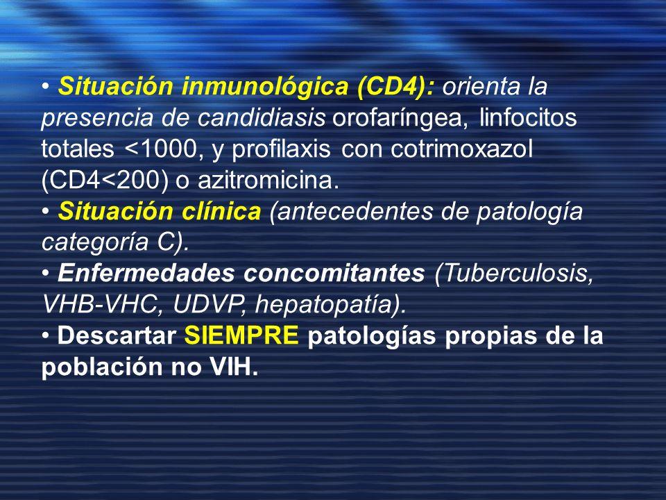 • Situación inmunológica (CD4): orienta la presencia de candidiasis orofaríngea, linfocitos totales <1000, y profilaxis con cotrimoxazol (CD4<200) o azitromicina.