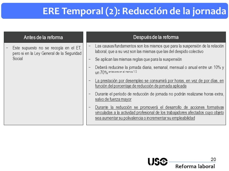 ERE Temporal (2): Reducción de la jornada