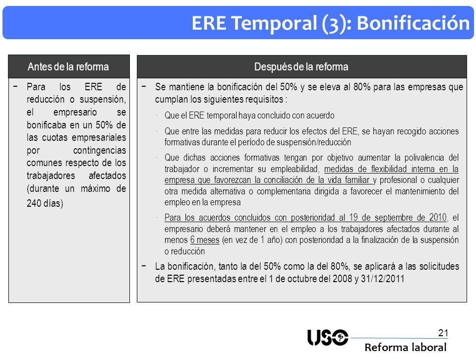 ERE Temporal (3): Bonificación