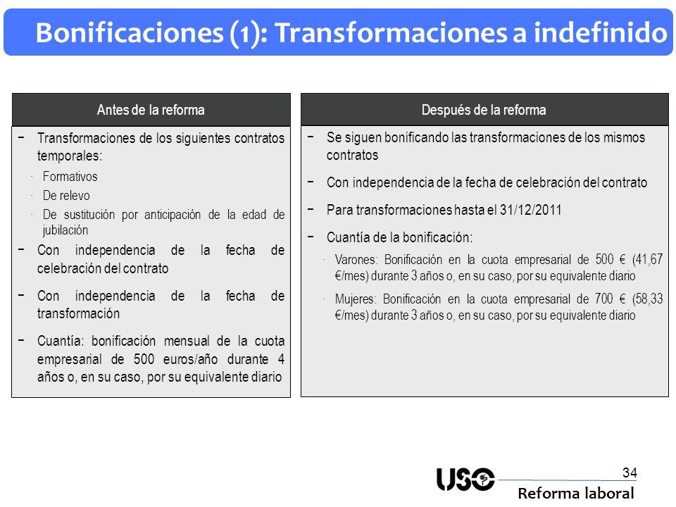Bonificaciones (1): Transformaciones a indefinido