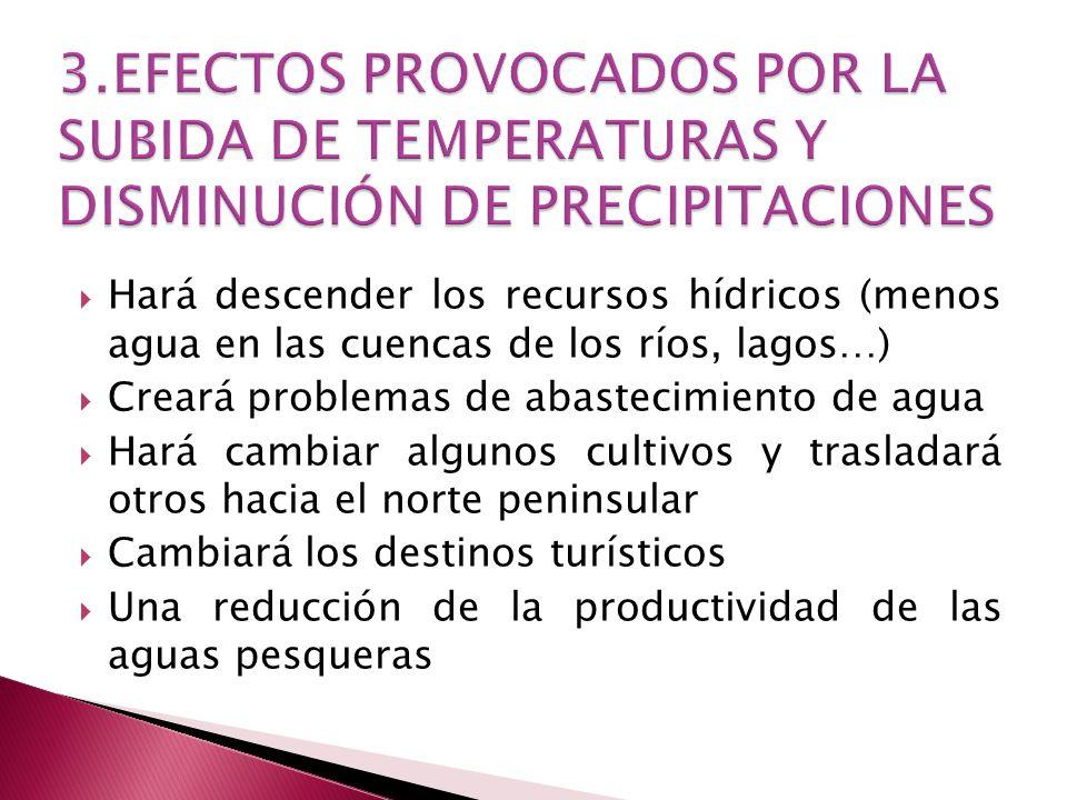 3.EFECTOS PROVOCADOS POR LA SUBIDA DE TEMPERATURAS Y DISMINUCIÓN DE PRECIPITACIONES