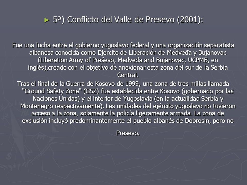 5º) Conflicto del Valle de Presevo (2001):