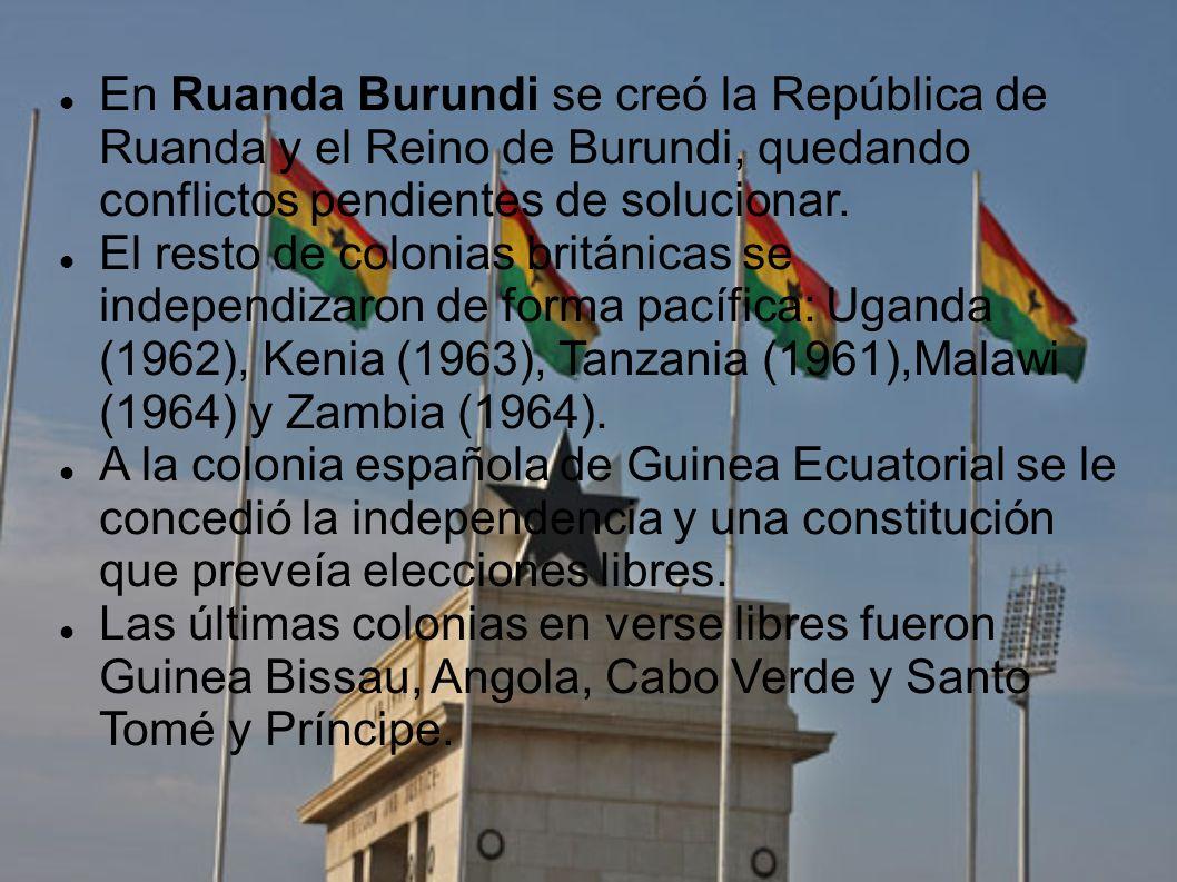 En Ruanda Burundi se creó la República de Ruanda y el Reino de Burundi, quedando conflictos pendientes de solucionar.