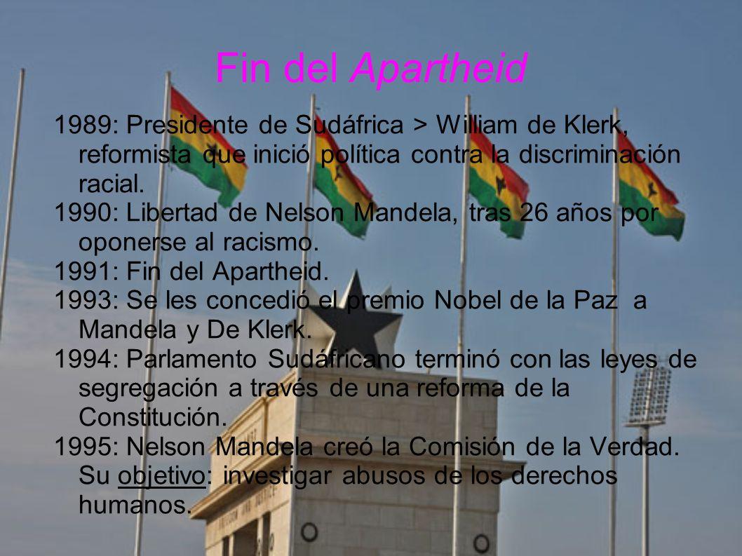 Fin del Apartheid 1989: Presidente de Sudáfrica > William de Klerk, reformista que inició política contra la discriminación racial.