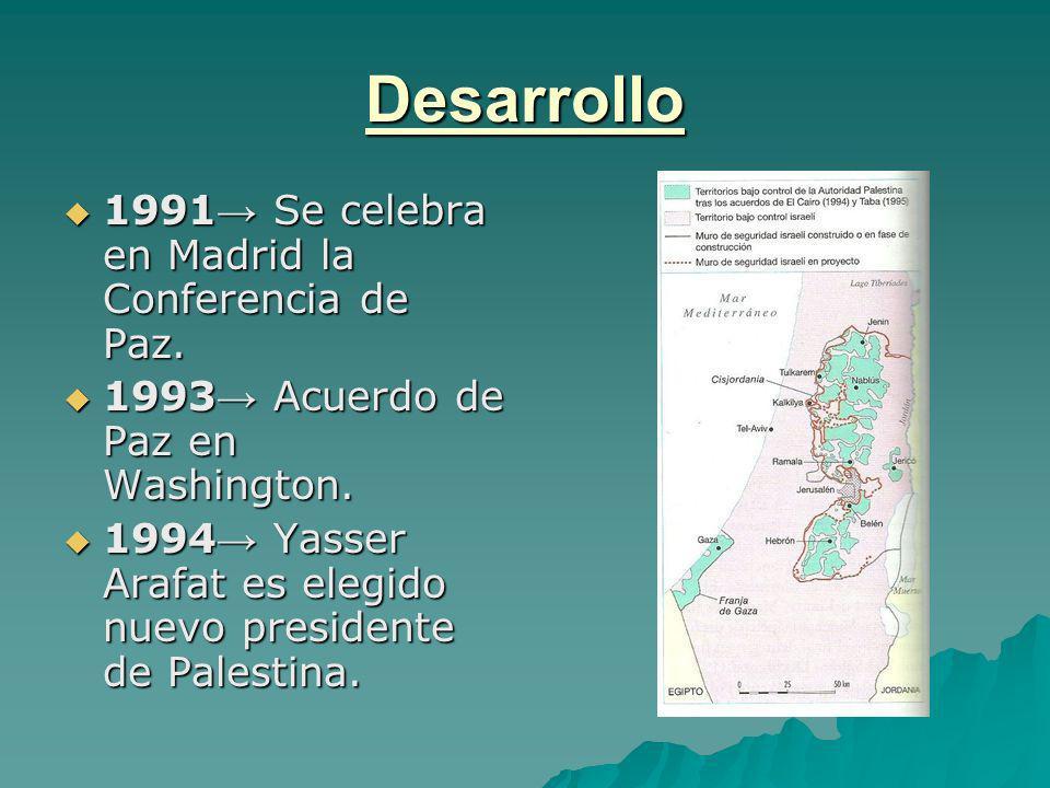 Desarrollo 1991→ Se celebra en Madrid la Conferencia de Paz.